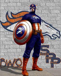 Captain America wearing the Denver Broncos symbol on his suit! Denver Broncos Womens, Denver Broncos Logo, Pro Football Teams, Denver Broncos Football, Go Broncos, Football Love, Broncos Fans, Football Memes, Football Stuff