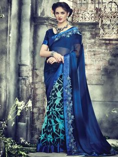 Fabulous outfit will be remembered for its beautiful looks and delicate feel.  Item Code: SDH1545 http://www.bharatplaza.com/new-arrivals/sarees.html