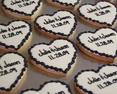 Wedding, Reception, White, Black, Favors, Cookies, Cookie creatives by jennifer, Hand decorated cookies