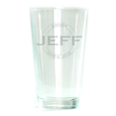 Pub Glass - 16oz - Double Circle Personalized with Name and Dates