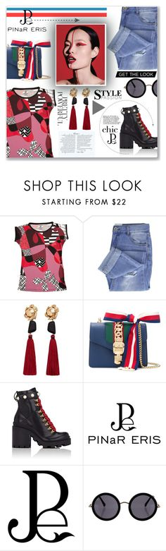 """Pinar Eris- Geometric patterns"" by mishrananya ❤ liked on Polyvore featuring Taya, MANGO, Gucci, The Row, GetTheLook, chic, geometric and pinareris"