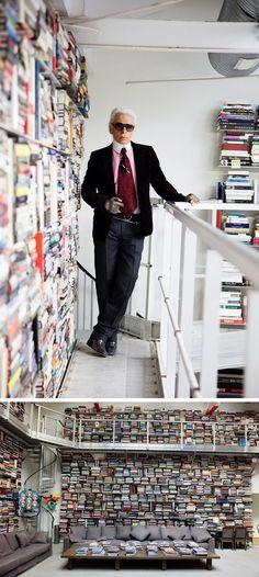Karl Lagerfeld has arranged his floor-to-ceiling library sideways.