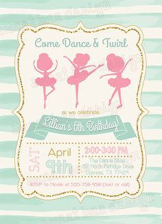 Ballerina Birthday Invitation Ballet by SweetBeeDesignShoppe