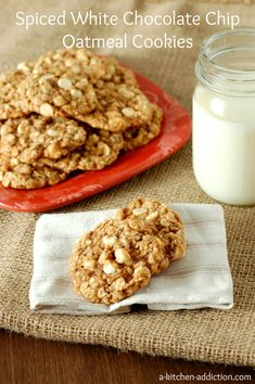 Spiced White Chocolate Chip Oatmeal Cookies-These cookies are loaded with cinnamon and nutmeg with a hint of ginger and cloves so that you can actually taste the spice instead of the spices being overpowered by chocolate or other ingredients. They are crispy on the outside and chewy on the inside.