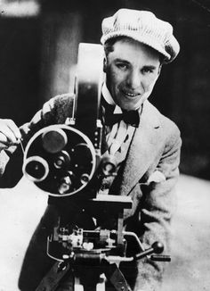 Young Chaplin with a movie camera. NB: No moustache