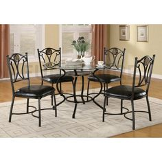 It is a dining set, named Black Bronze Metal Dining Set with Glass Top Table & 4 Chairs. It contains one dining table and four side chairs. The whole set made by black bronze metal and unique pedestal . For details, click this image. Cheap Dining Room Sets, Round Dining Table Sets, Casual Dining Rooms, 5 Piece Dining Set, Dining Decor, Dining Table Chairs, Side Chairs, Dinning Set, Kitchen Tables
