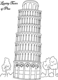 Collection of Landmarks Around The World Coloring Pages -Leaning Tower of Pisa Italy