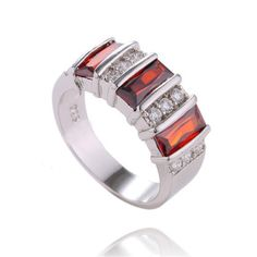 Fashion-sterling-silver-Red-cubic-zirconia-Ladys-Classic-Ring-size-9