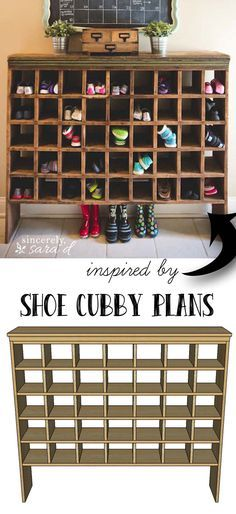 FREE DIY plans for making the antique mail sorter inspired shoe cubby!