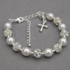 Cross Charm Bracelet Holy Communion Gift Baptism by AMIdesigns