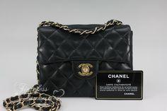 894cfc6fbbf852 Timeless Luxuries - CHANEL Black Lambskin Mini Classic Flap Bag Gold Hw