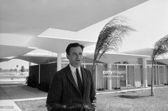Portrait of architect Victor Lundy as he poses at the Warm Mineral Springs Motel, Warm Mineral Springs, Florida, March 1958.