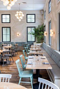 restaurant table An Elegant amp; Cozy Traditional Restaurant Design: The Royal Tern Rustic Restaurant Interior, Modern Restaurant Design, Cozy Restaurant, Restaurant Concept, Restaurant Interior Design, Modern Interior Design, Restaurant Ideas, Seafood Restaurant, Design Café