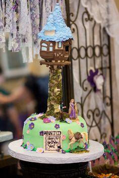 Cake from a Rapunzel Birthday Party #rapunzel #partycake