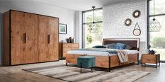 Łóżko Loft producenta New Elegance. Commode Design, Loft Interiors, Oak Color, Bed Storage, Black Decor, Industrial Style, Rustic, Living Room, Elegant