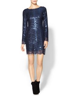 Navy Tinley Road Long Sleeve Sequin Dress | Piperlime
