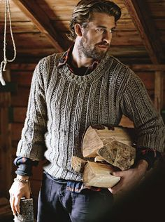 GQ - Dolce & Gabbana grey chunky knit sweater rolled sleaves, Engineered Garments plaid shirt, Nice Collective dark pant