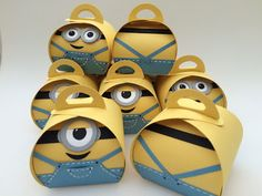 Minion treat boxes made with the Stampin Up Curvy Keepsakes die.
