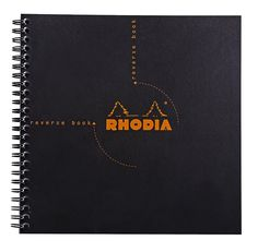 Rhodia Classic Reverse Book, Side Wirebound , Black, Graph, 8 ¼ x 8 ¼