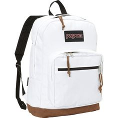 JanSport Right Pack Laptop Backpack (80 CAD) ❤ liked on Polyvore featuring bags, backpacks, laptop backpacks, white, laptop pocket backpack, laptop rucksack, rucksack bag, handle bag and white backpack