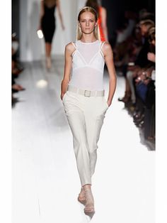 Victoria Beckham white tank and white pants on the runway during Mercedes Benz Fashion Week Spring/Summer 2013 on September 9 in New York City. #NYFW #clothing