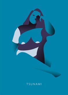 Tsunami 2. Illustration art print by Simone Perin / A4 format (8,3 x 11,7)