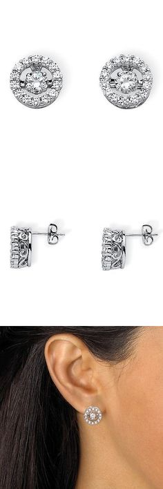 Other Fine Earrings 10984: Palmbeach Jewelry 1.92 Tcw Cz In Motion Platinum Over .925 Silver Halo Earrings -> BUY IT NOW ONLY: $73.79 on eBay!