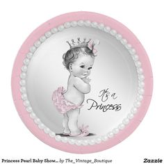 Princess Pearl Baby Shower Paper Plate