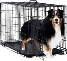 (This is an affiliate pin) Dog Crate Kennel Pet Cage for Large Medium Dogs Travel Metal Double-Door Folding Indoor Outdoor Puppy Playpen with Divider and Handle Plastic Tray,48 42 36 30 24 inches Extra Large Dog Crate, Large Dogs, Pet Dogs, Dog Cat, Pets, Xxl Dog Crate, Metal Dog Kennel, Puppy Playpen, Wire Dog Crates