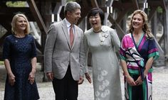 While their partners participated in G7 discussions, Christiane Juncker (L), wife of European Commission President Jean-Claude Juncker, Joachim Sauer, husband of German Chancellor Angela Merkel, Akie Abe, wife of Japanese Prime Minister Shinzo Abe and Sophie Grégoire Trudeau shared a laugh during a photocall outside of the Ise Grand Shrine. <br><p> Photo: © Getty Images</p>