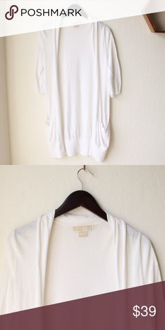 """Michael Kors Long Sweater White and in mint condition. Very long, about 35"""" from shoulder to bottom of sweater. Arm length is 15.5"""". Can fit to a small or smaller medium. MICHAEL Michael Kors Sweaters Cardigans"""