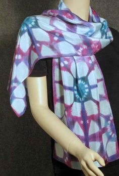 Turquoise Purple and Magenta Hand Painted Shibori Silk Habotai Scarf 11 x 58. $44