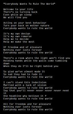 """everybody want to rule the world"" lyrics"