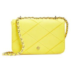 Tory Burch 'Robinson' Stitched Leather Shoulder Bag ($285) ❤ liked on Polyvore featuring bags, handbags, shoulder bags, tory burch handbags, yellow shoulder bag, chain shoulder bag, leather shoulder bag and leather purses