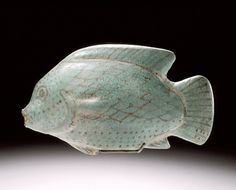 """""""Vessel in the Form of a Fish"""" (ca. 1550-1307 BCE). Egypt, 18th Dynasty. Faience. Gift of the 1999 Collectors Committee. Posted on lacma.org."""
