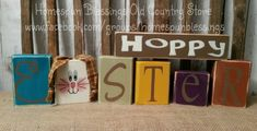 Set of 7 hand painted blocks. Here comes Peter Cottontail, Hoppin' down the bunny trail, Hippity, hoppity, Easter's on its way.