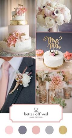Color crush: grey and pink by Better Off Wed--where you'll find the most amazing. - Color crush: grey and pink by Better Off Wed–where you'll find the most amazing and unique cake - Unique Cake Toppers, Wedding Cake Toppers, Wedding Cakes, Trendy Wedding, Perfect Wedding, Dream Wedding, Wedding Beauty, Fall Wedding, Wedding Themes