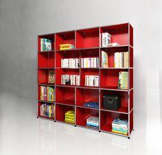 Bibliothèque USM Haller. Dimensions L/P/H : 1826/386/1476 mm. Modèle présenté en rouge rubis.