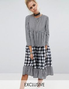 Buy Milk It Vintage Tiered Dress With Mix & Match Gingham at ASOS. Get the latest trends with ASOS now. Hijab Fashion, Diy Fashion, Fashion Online, Fashion Dresses, Womens Fashion, Fashion Design, Fashion Trends, Linen Dresses, Cute Dresses