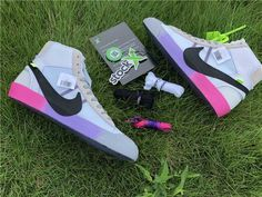 Off-White x Nike Blazer Mid Queen Colorful Soles Rainbow All Nike Shoes, Nike Shoes Online, Discount Nike Shoes, Kobe Shoes, Nike Shoes Cheap, Nike Shoes Outlet, Shoes Jordans, Cheap Nike Trainers, Colorful Sneakers