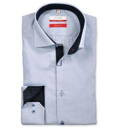 Slim Fit priliehavá modrá prúžkovaná košeľa Popelín (plátnová tkanina) Leto, Pasta, Slim, Shirt Dress, Mens Tops, Shirts, Dresses, Fashion, Vestidos