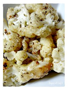 Shake & Bake Cauliflower: olive oil, garlic, herbs, Parmesan cheese in a ziplock.  Shake then bake at 400 for 35 minutes