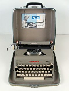 vintage typewriter - Royal McBee Quiet Deluxe portable with case - early 1950s