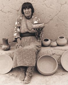 Maria Martinez (1887-1980) was instrumental in reviving and bringing worldwide recognition to the art of Southwest Native American pottery at a time when the tradition was quickly being lost.  by potsinaction