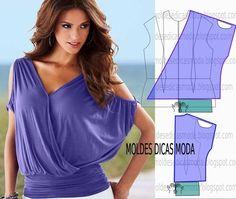 Passo a passo transformação do molde de blusa casual. Para fazer este modelo de blusa imprima o molde base de blusa e faça a gradação para o seu tamanho. Depois de obter o seu tamanho de molde base si