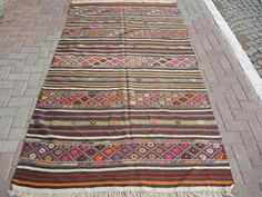 "Vintage West Anatolian Turkish Kilim rug Natural colors pure Wool   99,6"" by 57""  inches (253cm by 145cm) by TARZANPILLOW on Etsy https://www.etsy.com/listing/209561843/vintage-west-anatolian-turkish-kilim-rug"