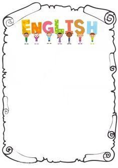 caratula de ingles para pintar Kids Background, Class Decoration, English Class, Writing Paper, Kindergarten, Clip Art, Templates, Teaching, Activities