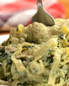 One-Pot Creamy Chicken Bacon Pesto Pasta