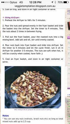 Roasting nuts in air fryer