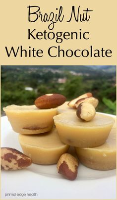 This recipe pairs cacao butter with Brazil nuts to achieve a smooth, nutrient dense, good-for-you ketogenic white chocolate. Nut Recipes, Healthy Diet Recipes, Fudge Recipes, Ketogenic Recipes, Snack Recipes, Keto Foods, Healthy Fats, Ketogenic Diet, Fat Bombs